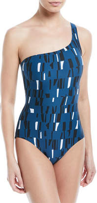 Proenza Schouler One-Shoulder Printed One-Piece Swimsuit