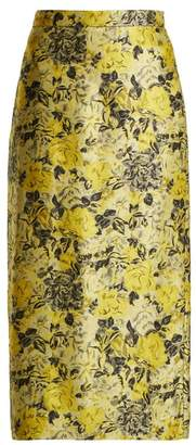 Erdem Maira Rose Jacquard Pencil Skirt - Womens - Yellow