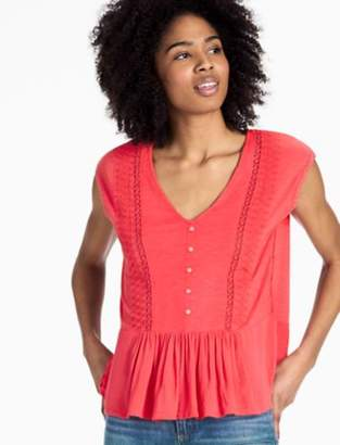 Lucky Brand WOVEN MIX KNIT TOP