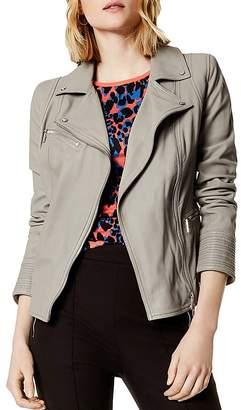Karen Millen Washed Leather Biker Jacket