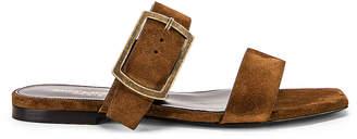Saint Laurent Suede Oak Sandals in Caramel | FWRD