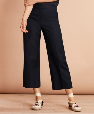Brooks Brothers Irish Linen-Cotton Cropped Wide-Leg Pants