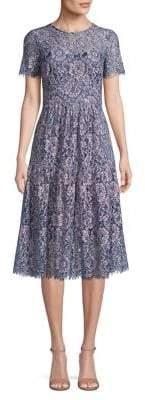 Eliza J Pleated Lace Fit Flare Dress