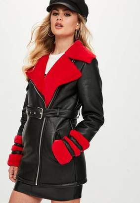 Missguided Tall Black Faux Fur Longline Aviator Jacket