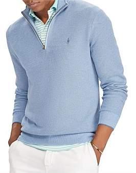 Polo Ralph Lauren Mens Cotton Mesh Half-Zip Sweater