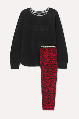 DKNY Embroidered Leopard-print Fleece Pajama Set