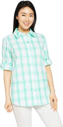 Joan Rivers Classics Collection Joan Rivers Two Toned Plaid Seersucker Boyfriend Shirt