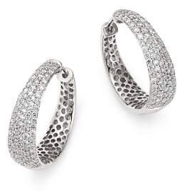 Roberto Coin 18K White Gold Scalare Diamond Hoop Earrings