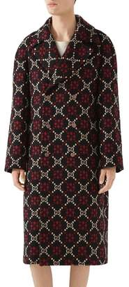 Gucci GG Wool Jacquard Knit Coat