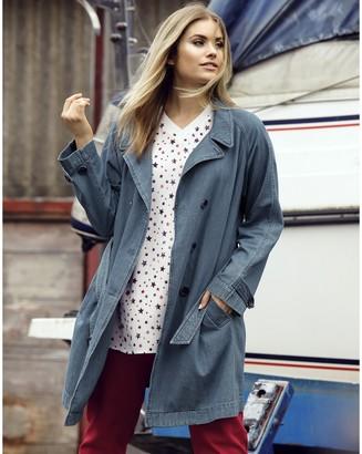 Ulla Popken Pure Cotton Denim Trench Coat