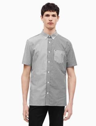 Calvin Klein pattern block button down short sleeve shirt