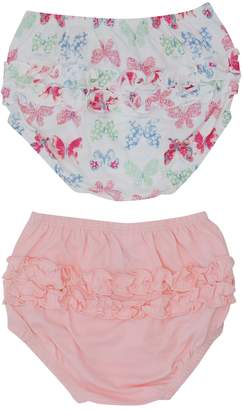 M&Co Plain and butterfly print frilly knickers