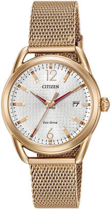 Citizen Drive from Eco-Drive Women's Rose Gold-Tone Stainless Steel Mesh Bracelet Watch 34mm FE6083-72A