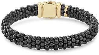 Lagos Gold & Black Caviar Collection 18K Gold & Ceramic Bracelet, 9mm