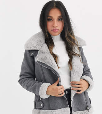 Vero Moda Petite wool mix aviator jacket in grey