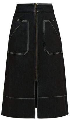 Ssōne Ssone - Oak A Line Denim Midi Skirt - Womens - Black