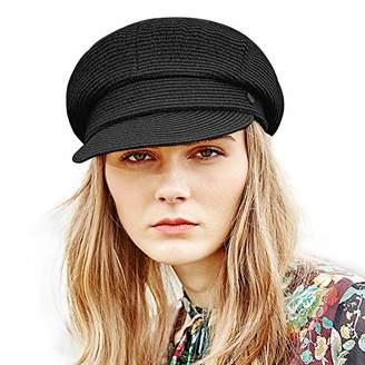 Jeff & Aimy Womens Straw Sun Hat Newsboy Cap Visor Beret Packable Soft Breathable Fashion Cap Black