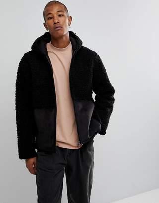 Asos DESIGN Oversized Faux Shearling Jacket in Black