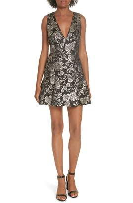 Alice + Olivia Marleen Box Pleat Fit & Flare Dress