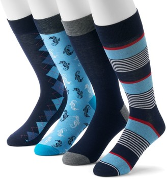 Croft & Barrow Men's 4-Pack Opticool Novelty Patterned Crew Socks