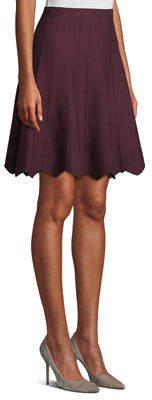 Neiman Marcus Scalloped Flared Knit Skirt