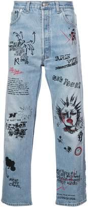 R 13 graffiti logo jeans