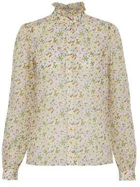 ALEXACHUNG Ruffle-Trimmed Floral-Print Cotton-Gauze Shirt