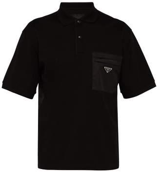 Prada Logo Patch Cotton Pique Polo Shirt - Mens - Black