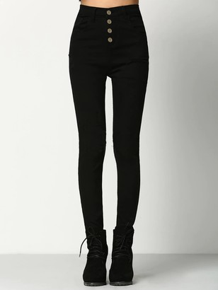 Shein Solid Button Front Skinny Jeans