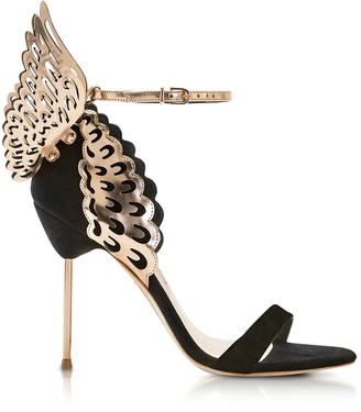 Sophia Webster Black and Rose Gold Evangeline Sandals