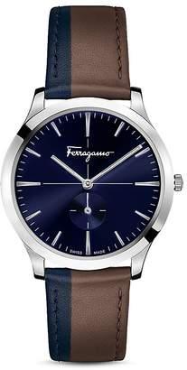 Salvatore Ferragamo Slim Formal Brown & Blue Strap Watch, 40mm
