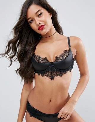 Asos Lucille Eyelash Lace & Satin Half Cup Padded Underwire Bra