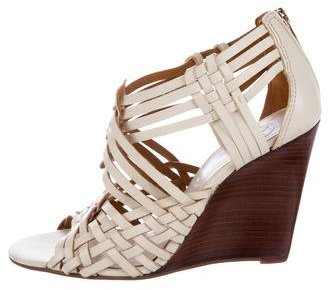 Tory Burch Tory Burch Woven Leather Wedge Sandals