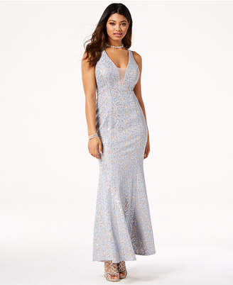 Jump Juniors' Sequined Lace Open-Back Gown