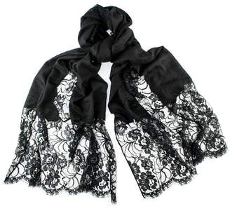 Black Cashmere and Chantilly Lace Shawl