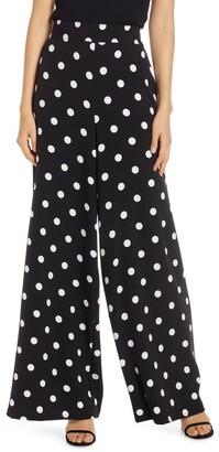 Eliza J Polka Dot Wide Leg Crepe Pants