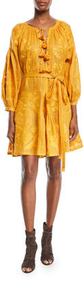 Vita Kin Grapevine Embroidered Tie-Waist Linen Short Dress