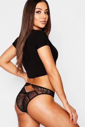 boohoo Open Back Diamante Lace Brief