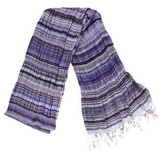 Eileen Fisher Striped Silk Fringe Scarf