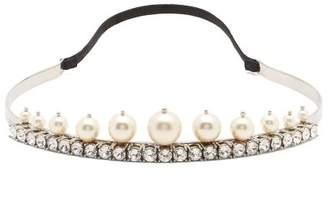 Miu Miu Pearl And Crystal Embellished Headband - Womens - Crystal
