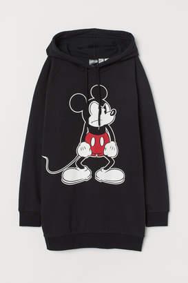 H&M Long Hooded Sweatshirt - Black