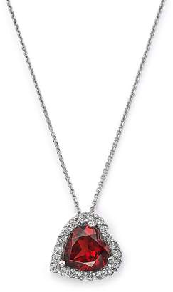 Bloomingdale's Garnet and Diamond Heart Pendant Necklace in 14K White Gold, 16 - 100% Exclusive