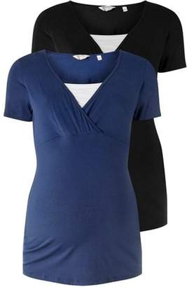 Dorothy Perkins Womens **Maternity Navy And Black Multipack Nursing T-Shirts