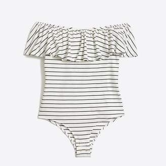 J.Crew Factory Short-sleeve striped ruffle bodysuit