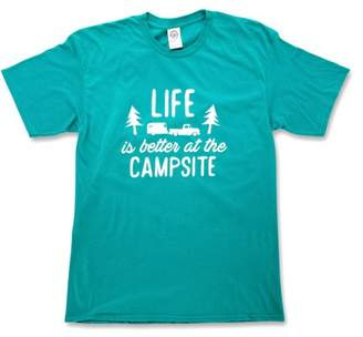 Camco Life is Better at The Campsite Teal Blue T-Shirt Soft Cotton Blend, Comfortable Material, Great for a Gym Shirt - Medium (53218)