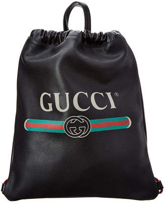 Gucci Logo Print Leather Drawstring Backpack