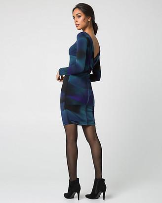 Le Château Geo Print Knit Cowl Back Mini Dress