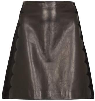 RED Valentino Black Scalloped Leather Mini Skirt
