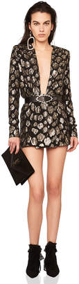 Saint Laurent Printed Plunging Long Sleeve Mini Dress