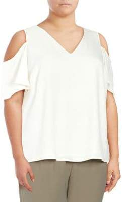 Calvin Klein V-Neck Cold Shoulder Top